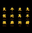 chinese zodiac signs hieroglyphs golden icons on vector image
