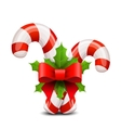 Christmas candy cane decorated with a bow and vector image