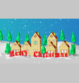 christmas card low polygonal model of houses the vector image vector image