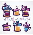 collection funny colored sweets and cake vector image