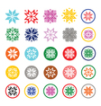 Colorful pixelated snowflakes Christmas icons vector image