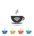 cup of coffee shop with free wifi zone icon vector image vector image