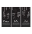dream boho style vintage chalkboard banners set vector image