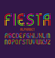fiesta alphabet colorful letters font isolated vector image vector image