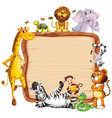 frame design with many animals around border vector image vector image