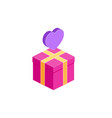 gift box icon and heart present vector image vector image