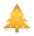 gold pine tree with christmas ball decoration vector image vector image