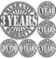 Grunge warranty rubber stamp set vector image