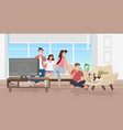 happy family watching tv parents and children vector image vector image