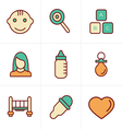 Icons Style Baby Icons Set Design vector image vector image