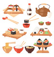 japanese food eat sushi sashimi roll or vector image vector image