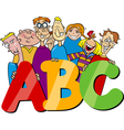 Kids with abc letters cartoon