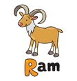Little funny urial or ram for ABC Alphabet U vector image vector image