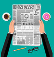newspaper cup of coffee donut pencil vector image