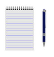 notebook with a blue pen vector image vector image