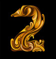 number 2 in style liquid gold vector image