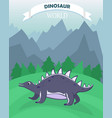 poster with flat cartoon dinosaur vector image