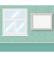 Realistic white plastic window and frame vector image