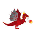 red dragon isolated mythical monster with wings vector image
