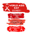 red ribbon stickers set with brushstrokes vector image