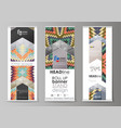roll up banner stands abstract design geometric vector image vector image