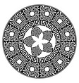 round mandala pattern black greek key vector image