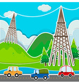 Scene with cars and power line vector image vector image