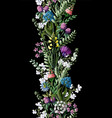 seamless border with wild flowers vector image vector image