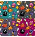 Seamless pattern with monster and weet food vector image