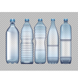 set of blue transparent plastic bottle vector image