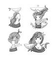 set of cute cartoon little mermaid siren sea vector image vector image