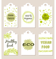 Set of green vegetarian food badges vector image