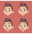 set of little boys faces with various vector image