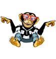smart cartoon chimpanzee vector image vector image