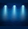 spotlight against brick wall in blue color empty vector image vector image