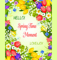 spring greeting card with flowers bunch vector image vector image