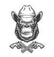 vintage gorilla head in cowboy hat vector image vector image