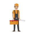 whiskered erector in black overalls holds tool box vector image vector image
