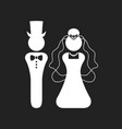 white silhouette bride and groom wedding icons vector image vector image