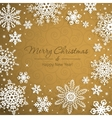 White snowflakes on golden background vector image vector image