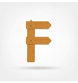 Wooden Boards Letter F vector image