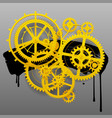 yellow gear wheels of clockwork with black blot vector image vector image