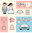 Wedding flat set vector image