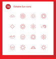 16 sun icons vector image vector image