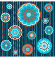 Abstract flowers in orange and turquoise vector image vector image