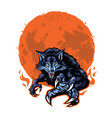 angry werewolf and moon logo template vector image vector image