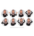 arab women character set of emotions vector image