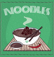 asian noodles naengmyeon or soba with beef vector image vector image