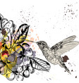 background with tropical flowers and hummingbird vector image