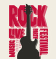 banner for rock party or festival with live music vector image vector image